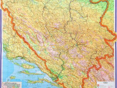 Bosna I Hercegovina Fiziko Geografska Karta Fasrga