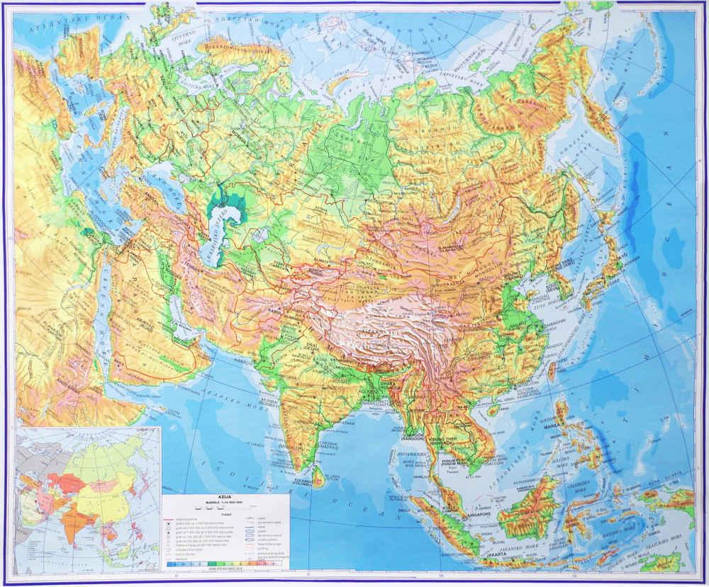 azija karta AZIJA   Hrvatska školska kartografija azija karta